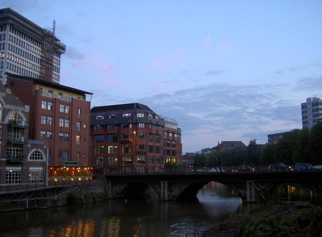 Bristol Bridge at dusk