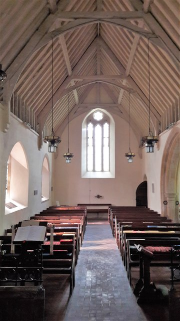View west in St John the Evangelist, Little Tew