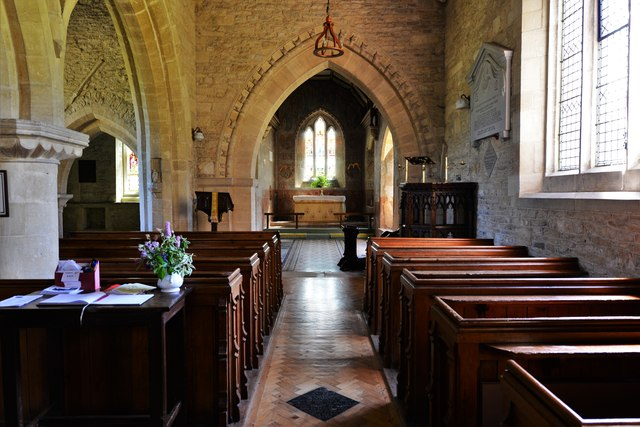 Asthall, St. Nicholas' Church: C1200 Transitional nave and arcade