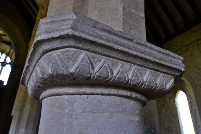 Asthall, St. Nicholas' Church: C1200 Transitional arcade capital