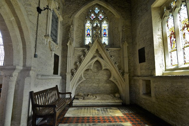 Asthall, St. Nicholas' Church: Cornwell Chantry, c14th canopied recess with weathered effigy of a lady 1
