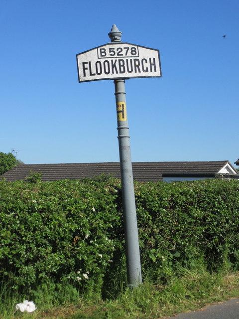 Flookburgh village sign on the B5278