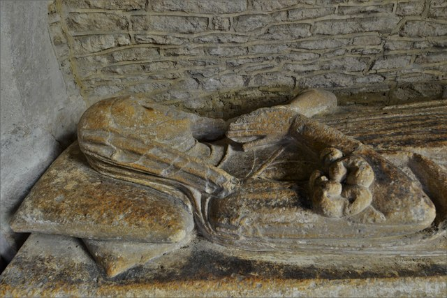 Asthall, St. Nicholas' Church: Cornwell Chantry, c14th canopied recess with weathered effigy of a lady 3