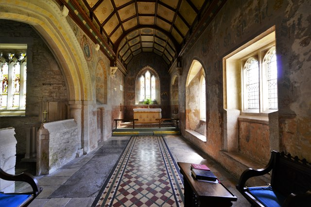 Asthall, St. Nicholas' Church: The attractive painted chancel of 1885
