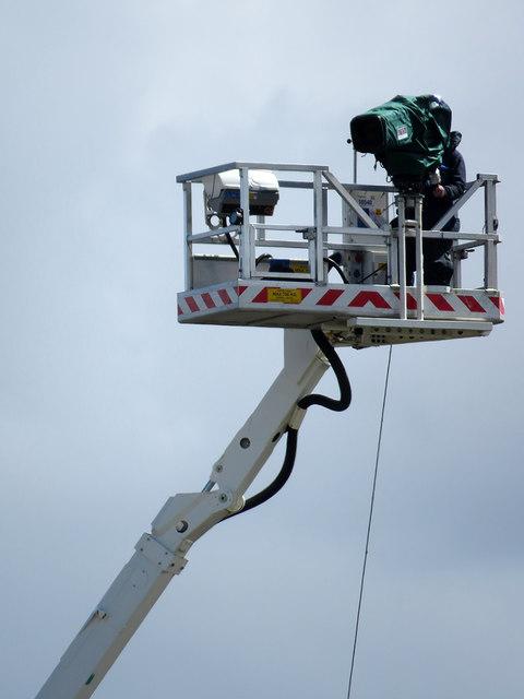 Trent Bridge Cricket Ground: a Sky cameraman in the sky