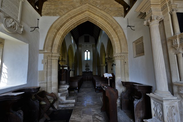 Swinbrook, St. Mary's Church: The nave from the chancel