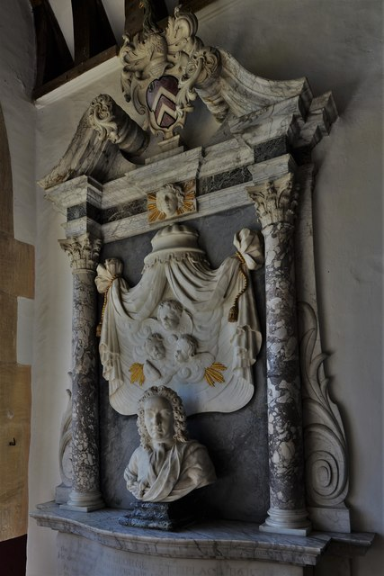 Swinbrook, St. Mary's Church: Marble bust and cherubs, Edmund Fettiplace (d.1743)