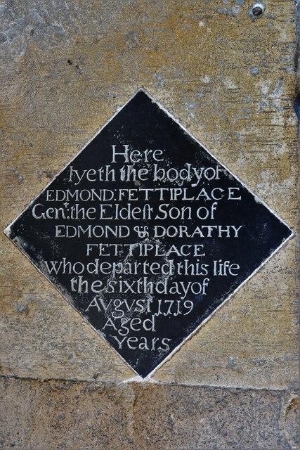 Swinbrook, St. Mary's Church: Edmond Fettiplace memorial plaque