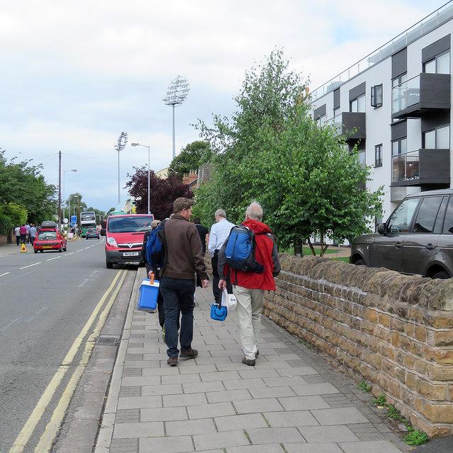 Bridgford Road: on their way to the 2017 Trent Bridge Test Match