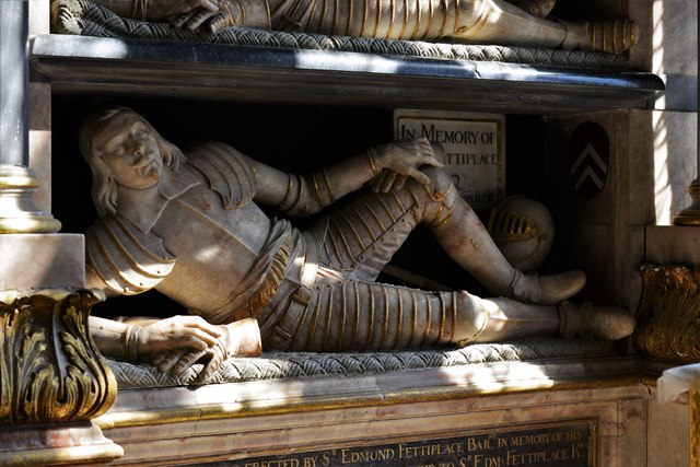 Swinbrook, St. Mary's Church: Edmund Fettiplace memorial for him and two ancestors