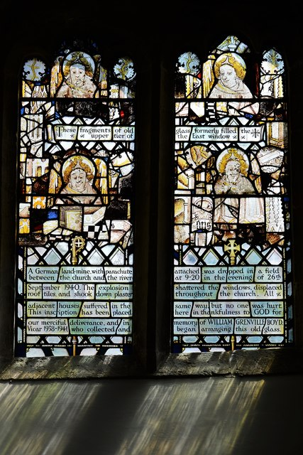 Swinbrook, St. Mary's Church: South aisle window with reset medieval glass 1