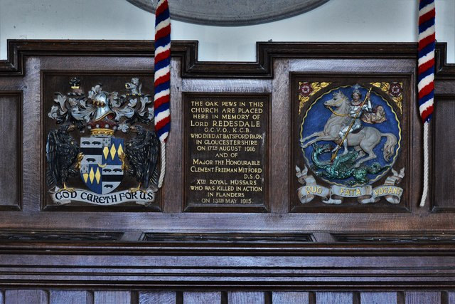 Swinbrook, St. Mary's Church: Oak pew dedication