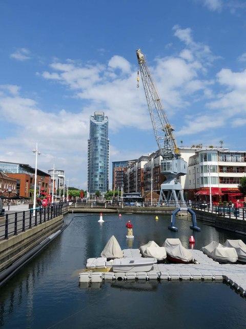 Former dock at Gunwharf Quays