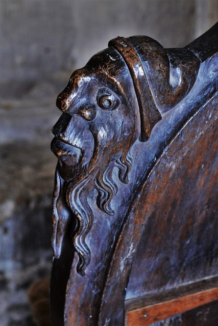 Swinbrook, St. Mary's Church: Carvings on the armrests of the medieval choir stalls 5