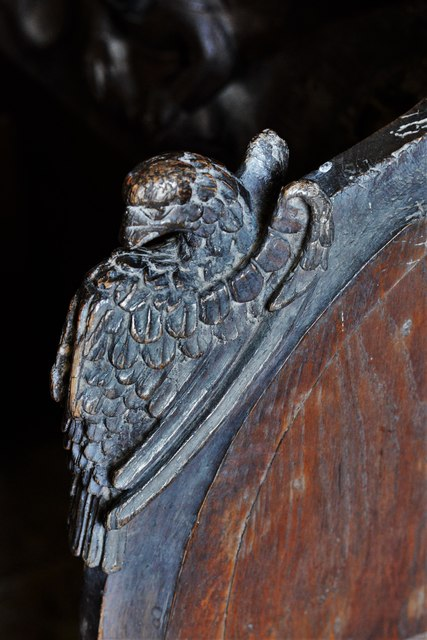 Swinbrook, St. Mary's Church: Carvings on the armrests of the medieval choir stalls 6