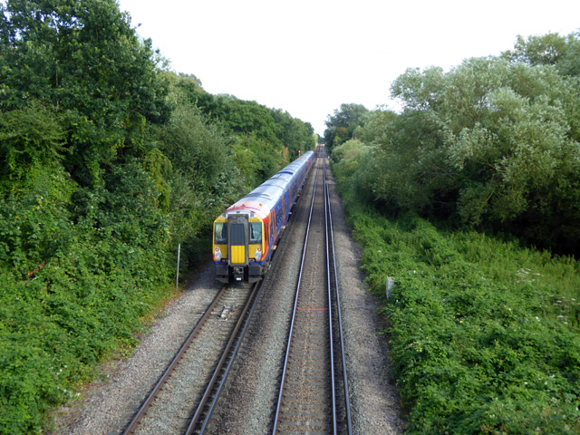 Train approaching Staines from Windsor