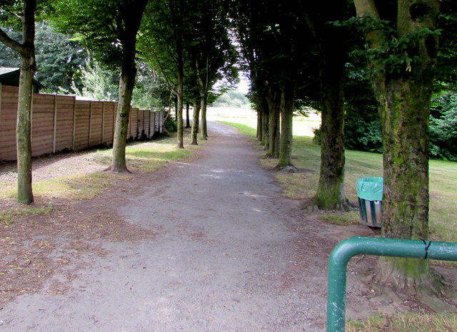 Tree-lined path into a recreation area, Rumney, Cardiff