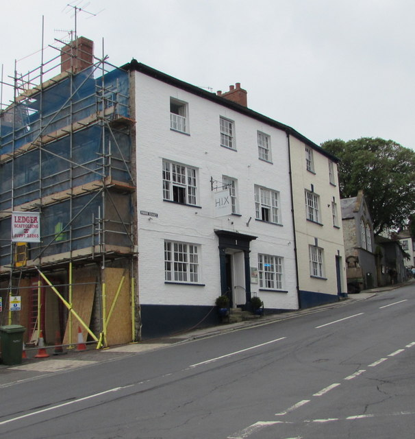 HIX Townhouse and a red K6 phonebox in Lyme Regis