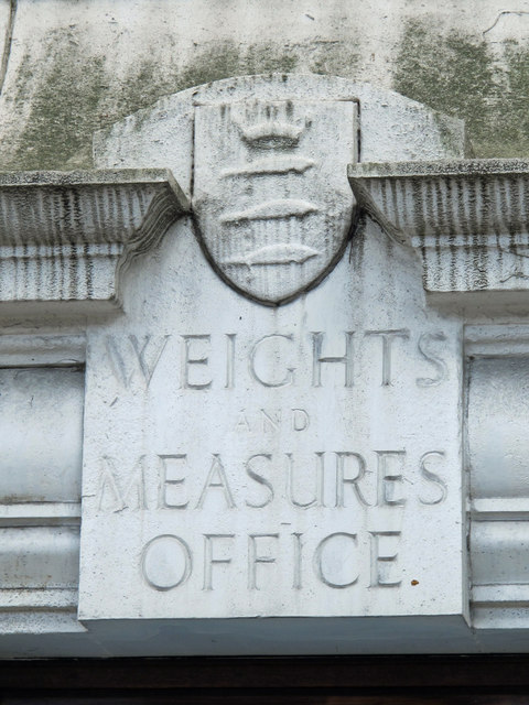 Inscribed stone on the former Weights and Measures Office, Seven Sisters Road / Manchester Road, N15