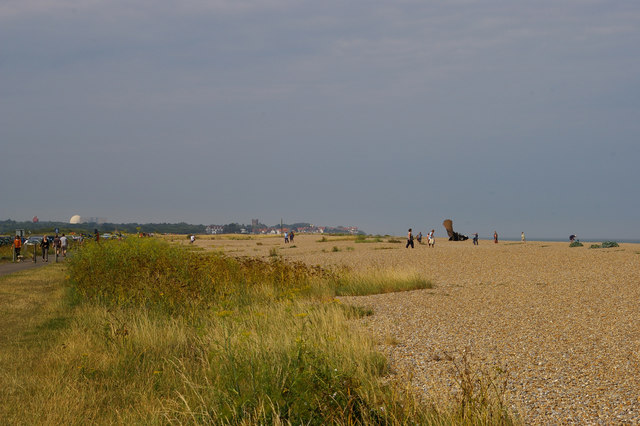 Looking north along the beach at Aldeburgh