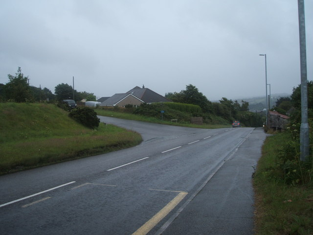 A393 at the top of Lanner Hill