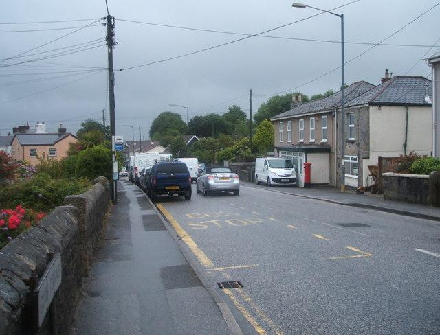 Bus stop on Lanner Hill, Lanner