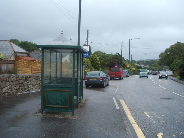 Bus stop and shelter on the A393, Lanner
