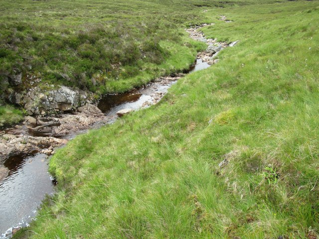 Conjoined burns at foot of Carn Dearg in upper Speyside