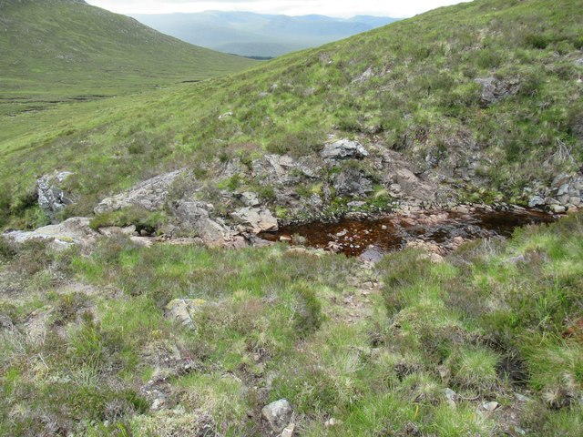 Faint deer track fording burn above steep rocky section at foot of Carn Dearg in upper Speyside