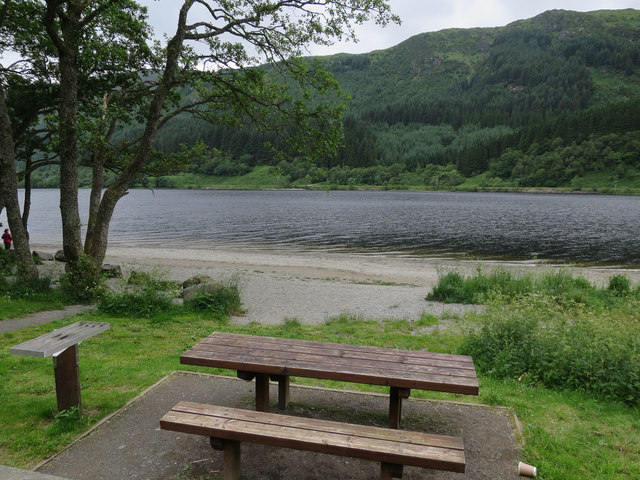 Picnic bench by Loch Lubnaig