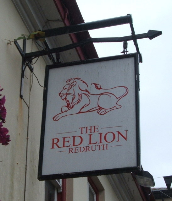 Sign for the Red Lion public house, Redruth