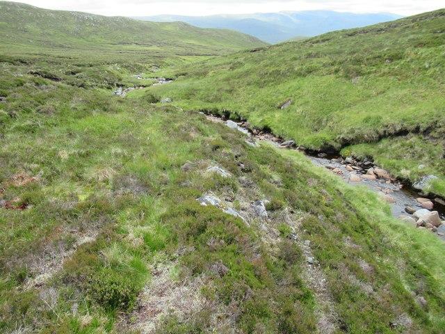 Red deer route on east bank of Allt Luaidhe in upper Speyside