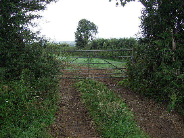 Field entrance and footpath off Tredrea Lane