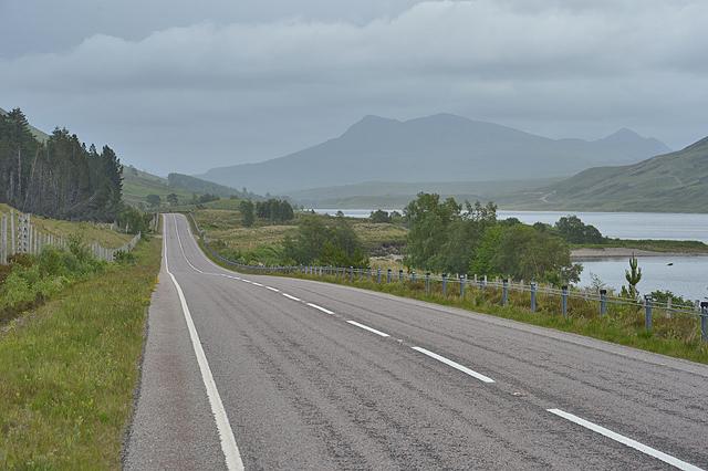 The A832 along Loch a' Chroisg