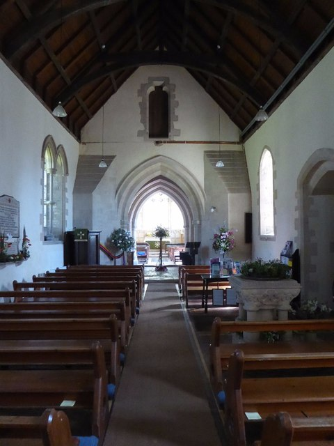 The interior of Meysey Hampton church