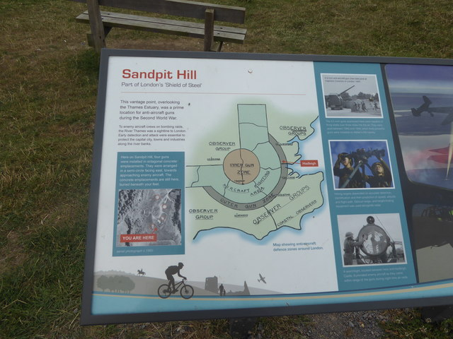 The information board on Sandpit hill