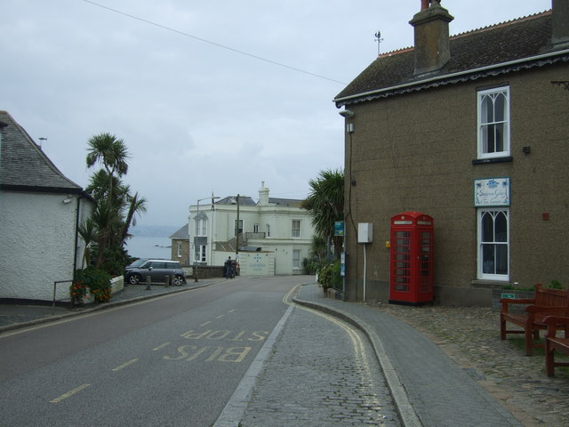 Bus stop and telephone box on The Square, Marazion