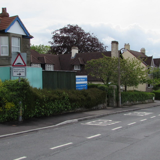 Warning sign - humps for 600 yards, Grove Road, Lydney