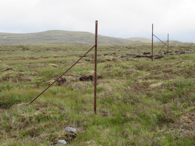 Boundary fence heading east above upper Speyside