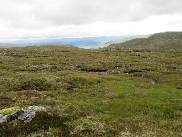 View south-east from erratic boulder high above upper Speyside