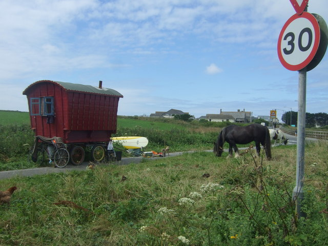Traveller's caravan beside the A30, Sennen