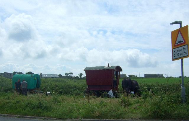 Traveller's caravans beside the A30, Sennen