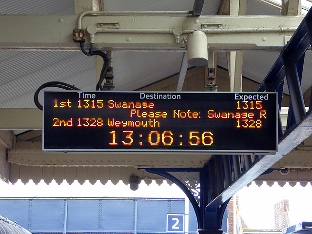A Swanage bound train indicated at Wareham