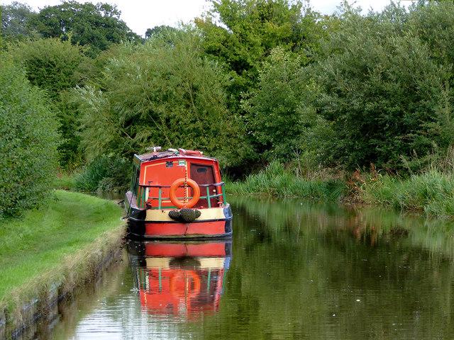 Moored narrowboat south of Ellesmere, Shropshire