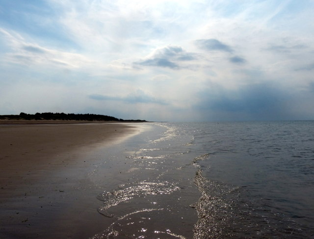 Looking west along the beach at West Sands