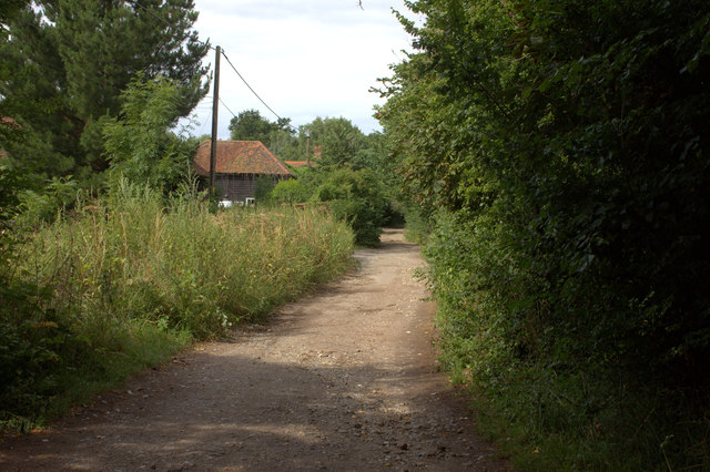 Bridleway towards Cherry Orchard farm and Hawk's Hill