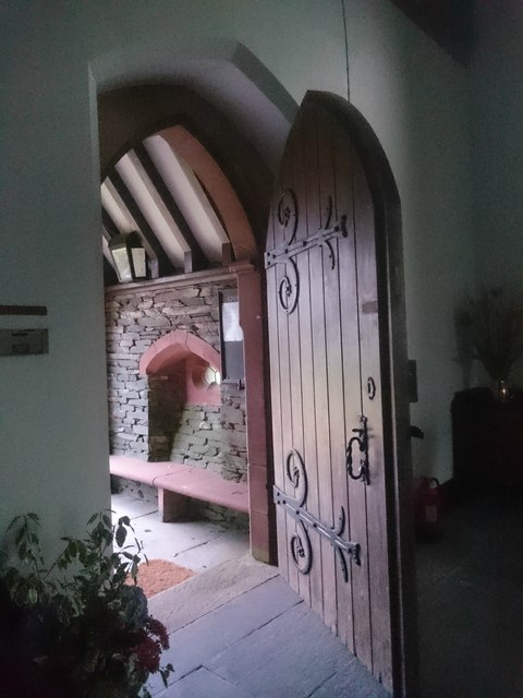Entrance door to St John the Evanglest High Cross Cumbria
