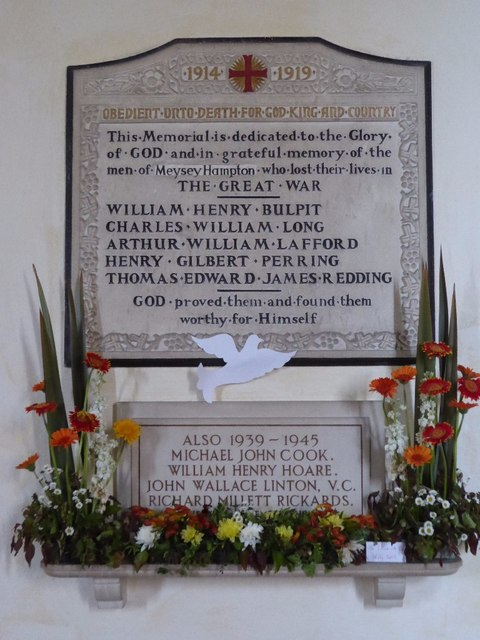 War memorial, Meysey Hampton church