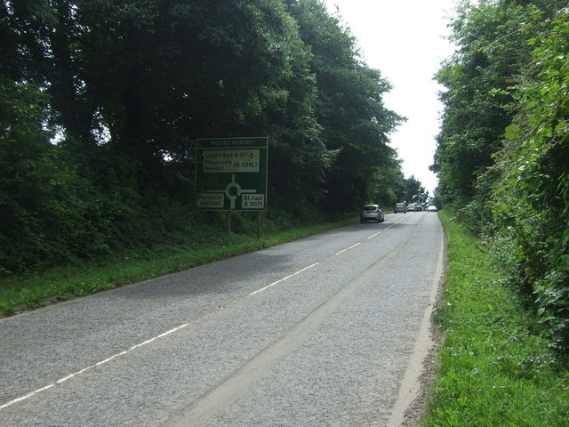 Approaching Mount Misery Roundabout on the A30
