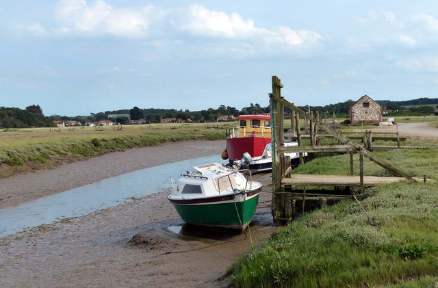 Boats moored at Thornham Creek